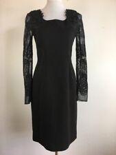 Elie Tahari Womens Sheath Cocktail Dress 6 S Black Lace Long Sleeve Knee Length
