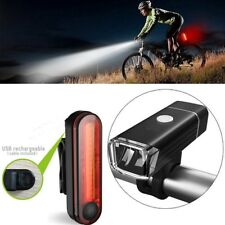 Bike Bicycle Front Back Headlight Lights USB LED Rechargeable Set Mountain Cycle