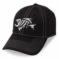 G Loomis A-flex Fishing Hat Cap Black w Silver Fish Bones Logo Sizes S/M and M/L