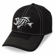 G Loomis A-flex Fishing Hat Cap Black w Silver Fish Bones Logo Sizes S/M and M/L