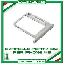 CARRELLO SLOT PORTA MICRO SIM TRAY ARGENTO SILVER PER IPHONE 4 e 4S