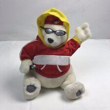 Coca Cola Musical Polar Bear Plush Wearing Hoodie Hat and Sunglasses 1999 Rare