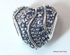 AUTHENTIC PANDORA SILVER HEART CHARM, AQUA, LONDON BLUE, CLEAR #797015NABMX