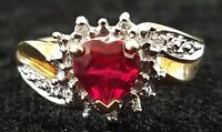 9 carat solid gold diamond & ruby vintage Art Deco antique heart ring size N 1/2