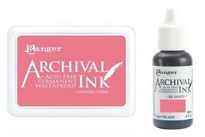 Coastal Coral Archival Ink Pad #0 + Reinker Bundle Lot - Ranger