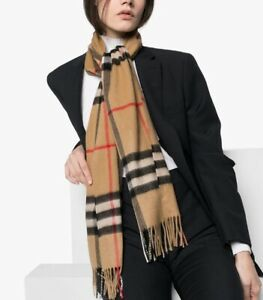 Burberry Schal Kaschmir 100% Cashmere-Schal Check Design Original Beige Brit