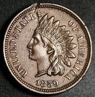 1859 INDIAN HEAD CENT -With LIBERTY & Near 4 DIAMONDS - AU UNC Details