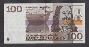 🔴NETHERLANDS  100 Gulden 1970  VF+   P93🔴