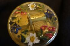 """Vintage Mapsa Clear Music Box w/ Painted Flowers-Plays """"La Vieux Chalet"""""""