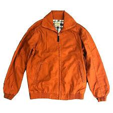 Mens Harringon Jacket Coat Bomber Cotton Casual Orange