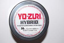 yo zuri fluorocarbon nylon hybrid 30lb lo-vis clear 600yds spool fishing line