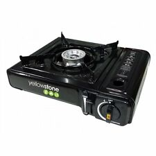 PORTABLE GAS COOKER STOVE BLACK CAMPING HIKING SINGLE BURNER STOVE WITH CASE