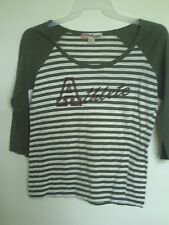Wallflower Women's Green Scoop Neck Striped 3/4 Sleeve  Shirt Top (Size XL)