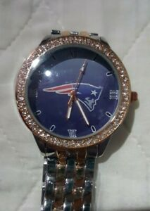New England Patriots Womens NFL Luxury TWO TONED Stainless Steel Watch-(RARE)NEW