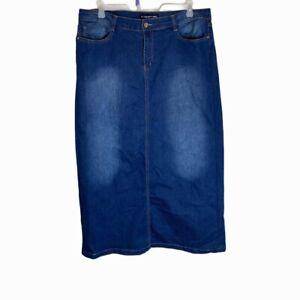 "Women's Denim 40"" Long Jean Skirt Pockets Modest Modesty No Slit Plus Sz 40-41W"