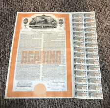 1949 Reading Railroad Company Bond Stock Certificate with coupons