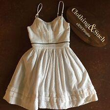 All Saints Spitalfields White Textured Cotton Spaghetti Strap Mini Dress Sz 0
