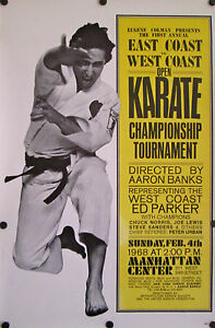 VINTAGE KARATE CHAMPIONSHIP TOURNAMENT POSTER 1968 EAST VS WEST COAST OPEN