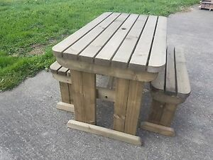 Picnic Table and Bench Set Wooden Outdoor Garden Furniture, Yews Compact Rounded