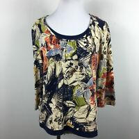 Coldwater Creek M Knit Top Abstract Floral 3/4 Sleeve Layered Look Cotton Blend