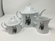 Teapot 1994 Porcelain by Rosalinde Boxer Dog Signed Vladmiri Usa Tea Coffee Set