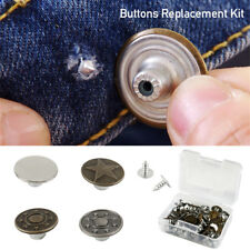 40 Sets Button Jeans Metal Tack Buttons Replacement Kit Repair For Sewing Pants