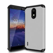 For Nokia 3.1A / Nokia 3.1C - Hard Hybrid Non-Slip Armor Phone Case Cover Silver
