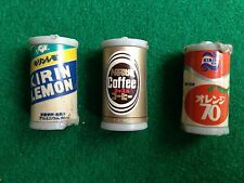 Vintage 80s 3 LATTINE IN PLASTICA CAFFE' NESTLE KIRIN ORANGE LEMON CAN Originale