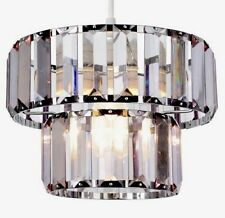 Art deco Vintage Style 2 Tier Smoke Grey  Prism Jewel Pendant Ceiling Shade NEW