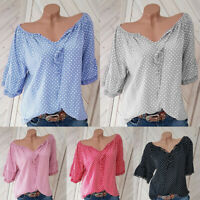 Womens Short Sleeve Blouse Polka Dot V Neck Casual Tops Summer T-Shirt Plus Size