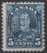 Canada #OA170 5¢ OHMS PERFIN 5 HOLES KING GEORGE V LEAF ISSUE USED