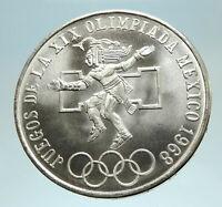 1968 Mexico XIX Olympic Games Aztec Ball Player BIG 25 Pesos Silver Coin i76817