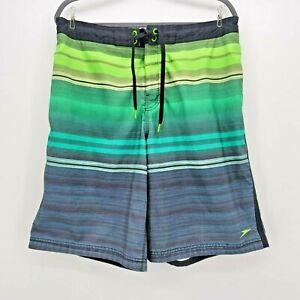 Speedo Green Striped Swim Trunks Shorts Mens Large