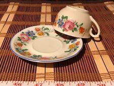 Bavaria Elfenbein Porzellan Demi Cup & Saucer Multi-Floral