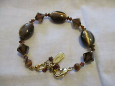 """DABBY REID FACETED BROWN CRYSTAL BRACELET With 24 KT Gold Plate  8"""" Long"""