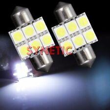2x 6000K Xenon Bright White 31mm 5050 SMD Festoon 6LED Light Bulbs Interior Dome