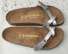 BIRKENSTOCK SILVER PIAZZA SANDALS - UK 5, EUR 38 NARROW FIT