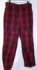 Vintage Woolrich Red Buffalo Plaid Wool Hunting Pants Men's Size 32 USA Made