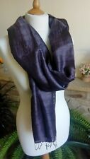 Large Hand-loomed 100% Pure Raw Thai Isaan Mulberry Silk Scarf in Aubergine