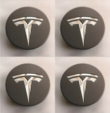 4X 56mm Grey Car Wheel Center Caps Hub Caps Cover Emblem For Tesla Model 3 S X