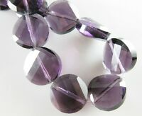 10pcs 14mm Faceted Glass Crystal Twist Discoid Charms Loose Beads Bluish Violet