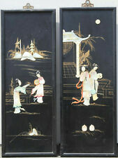 "32.5"" X 12"" SET OF FRAMED JAPANESE GEISHA WOOD  MOTHER OF PEARL IVORY 3D ART"