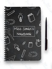 PERSONALISED NOTEBOOK A5 WIRE BOUND GIFT NOTE PAD CHALKBOARD TEACHER