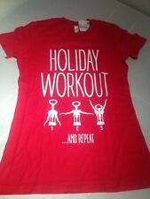 Holiday Workout Wine Repeat Bottle Opener Funny Adult Humor Ladies T-Shirt SM