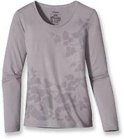 Patagonia Women's Anika T Shirt Grey Long Sleeve Top Round Neck Leaf Size M