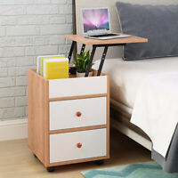 Lift Top Wood Sofa End Side Bedside Table w/2 Drawer Nightstand  Storage Shelf