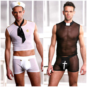 Men's Sexy Vicar Sailor LoL Halloween Fancy Dress Stag Costume Outfit M or L/XL