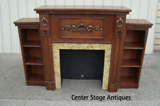 60623 Mahogany Carved Fireplace Mantle w/bookcase sides