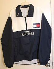 Vtg Tommy Hilfiger White & Navy Jacket Front Logo + Color Block Flag -Large