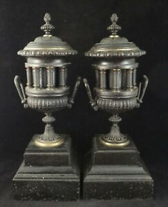 Pr. 19th c. Classical Bronze Urn's w/Fluted Columns & Black Stone Bases.15 3/8 t